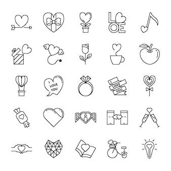 Conjunto de iconos de línea de amor y san valentín