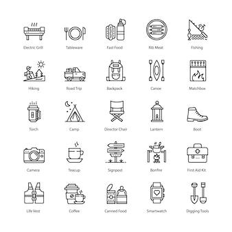 Conjunto de iconos de línea de barbacoa y parrilla