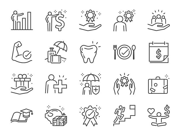 Conjunto de iconos de línea de beneficios de empleados.