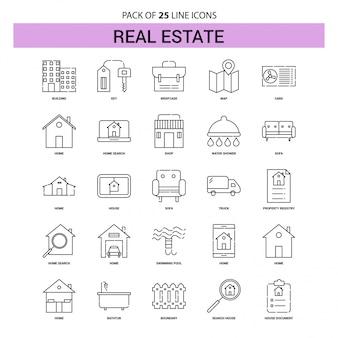 Conjunto de iconos de línea de bienes raíces - 25 estilo de contorno discontinuo