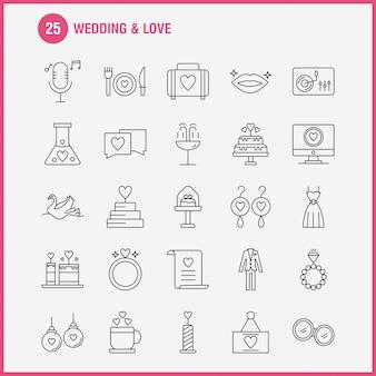 Conjunto de iconos de línea de boda y amor para infografías, kit móvil ux / ui