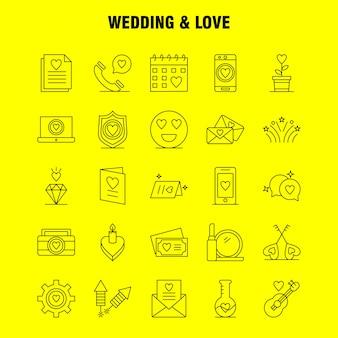 Conjunto de iconos de línea de boda y amor