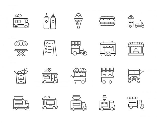 Conjunto de iconos de línea de camiones de comida.