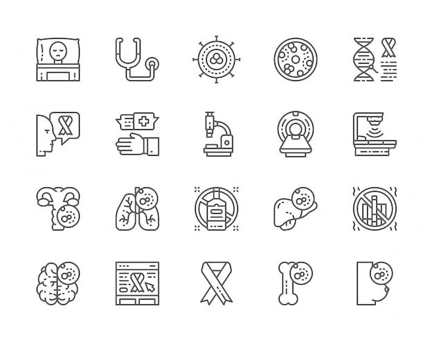 Conjunto de iconos de línea de cáncer y quimioterapia.