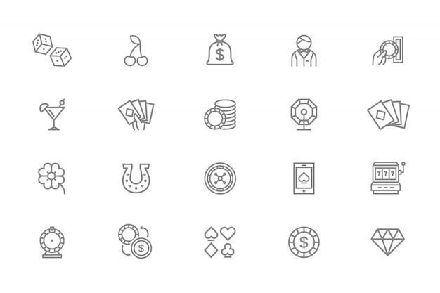 Conjunto de iconos de línea de casino.
