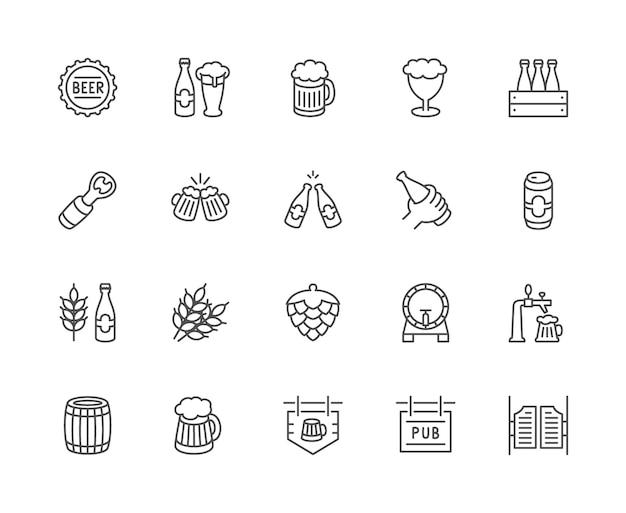 Conjunto de iconos de la línea de cerveza. tapa de botella, taza, abridor, grano de trigo, cono de lúpulo y más.
