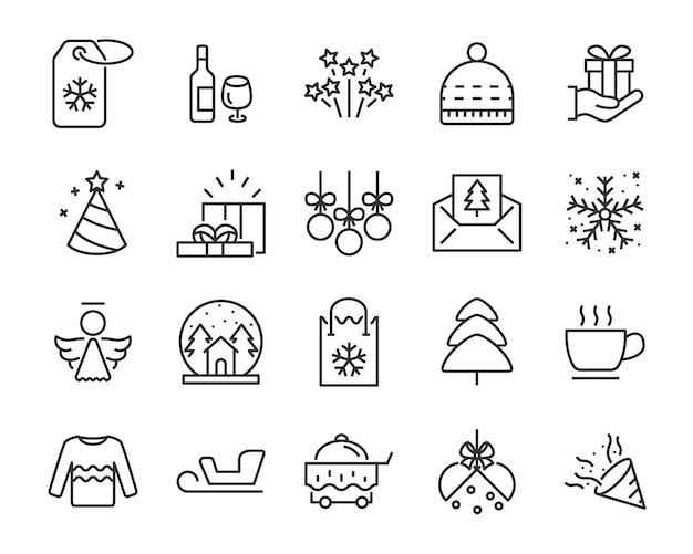 Conjunto de iconos de línea chistmas, como caja, regalo, invierno