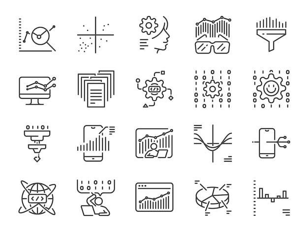 Conjunto de iconos de línea de ciencia de datos