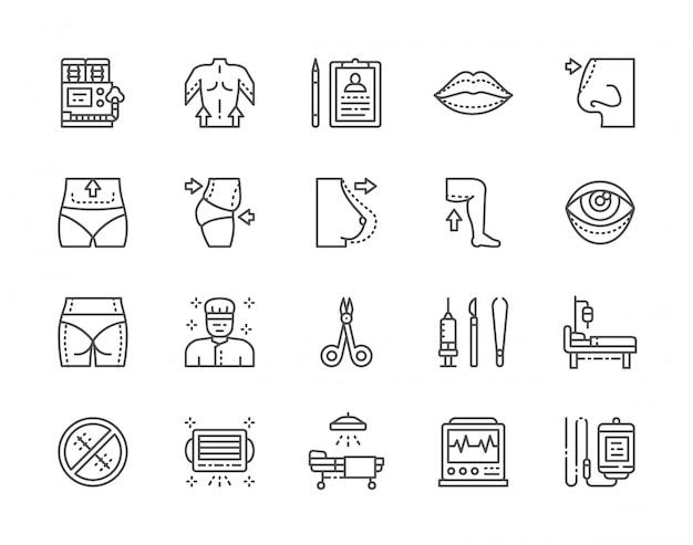 Conjunto de iconos de línea de cirugía plástica. cirujano, liposucción, rinoplastia y más.