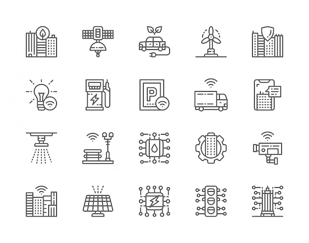 Conjunto de iconos de línea de ciudad inteligente
