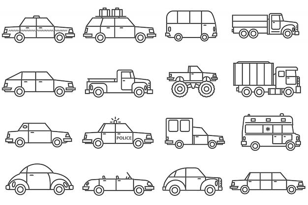 Conjunto de iconos de línea de coches