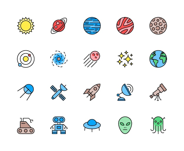 Conjunto de iconos de línea de color de astronomía y espacio. sol, sistema solar, galaxia y más.