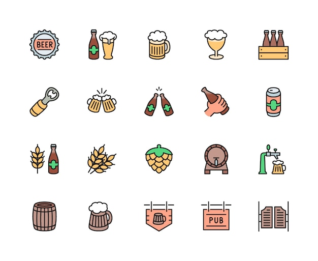 Conjunto de iconos de línea de color de cerveza y pub. tapa de botella, taza, abridor, barril y más.