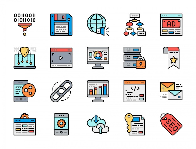 Conjunto de iconos de línea de color plano de marketing. seo, hosting, publicidad y más.