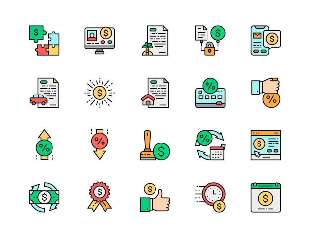 Conjunto de iconos de línea de color plano de préstamo rápido. inversión, crédito aprobado, préstamo de automóvil