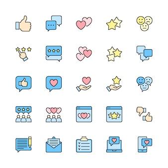 Conjunto de iconos de línea de color plano de retroalimentación. pulgar hacia arriba, me gusta, no me gusta, corazones y más.