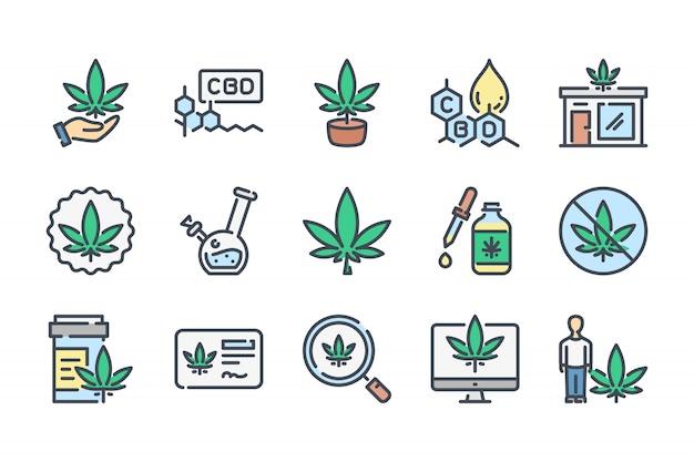 Conjunto de iconos de línea de color relacionados con cannabis y cbd.