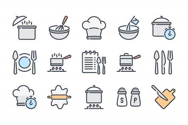 Conjunto de iconos de línea de color relacionados con la cocina.