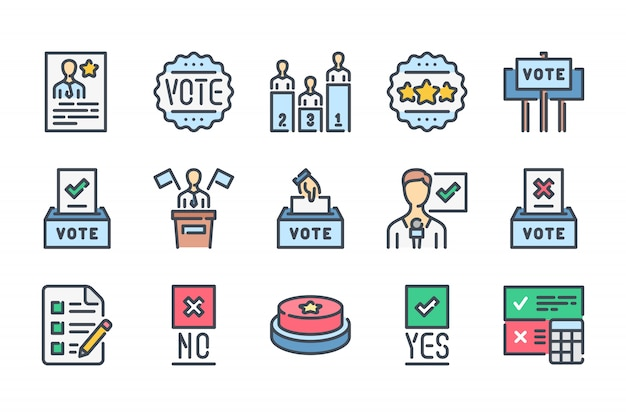 Conjunto de iconos de línea de color relacionados con las elecciones.