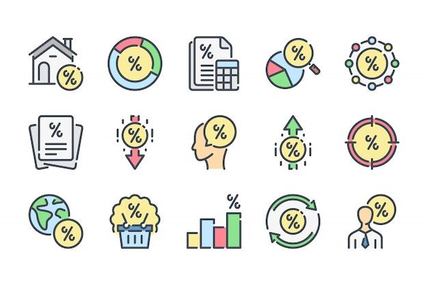 Conjunto de iconos de línea de color relacionados con intereses financieros.