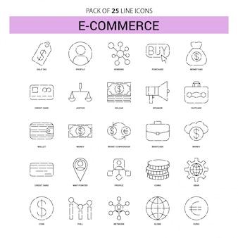 Conjunto de iconos de línea de comercio electrónico - 25 estilo de esquema discontinuo