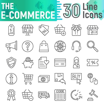 Conjunto de iconos de línea de comercio electrónico, colección de símbolos comerciales,