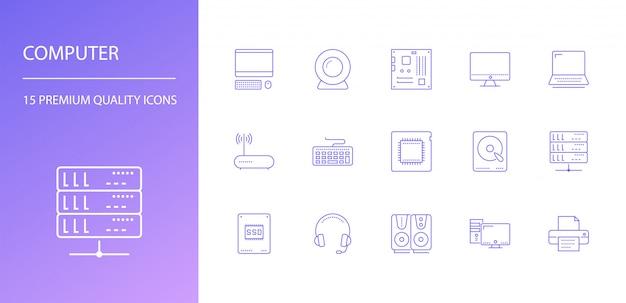 Conjunto de iconos de línea de computadora.