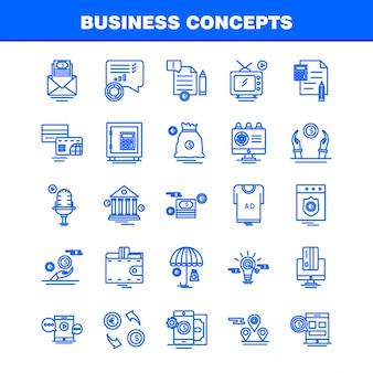 Conjunto de iconos de línea de conceptos de negocio