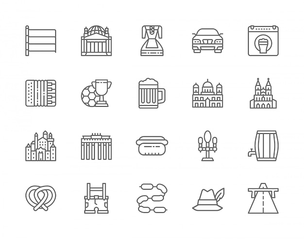 Conjunto de iconos de línea de cultura alemana.