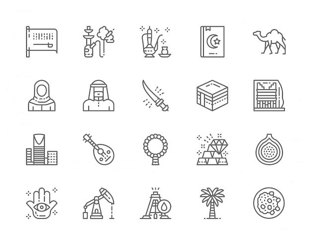 Conjunto de iconos de línea de cultura árabe y arabia saudita. cachimba, té árabe, libro sagrado, camello, meca, rascacielos, fruta exótica, plataforma petrolera, palmera y más.