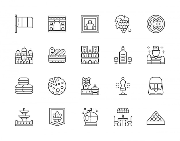 Conjunto de iconos de línea de cultura francesa. perfumería, street cafe, alcohol, mimo, macarons, queso, maniquí de costura y más.