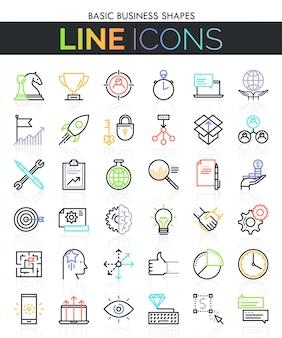 Conjunto de iconos de línea delgada de negocios