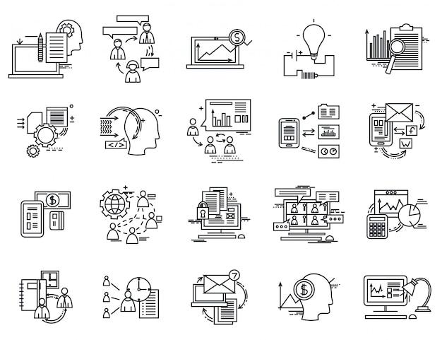 Conjunto de iconos de línea delgada