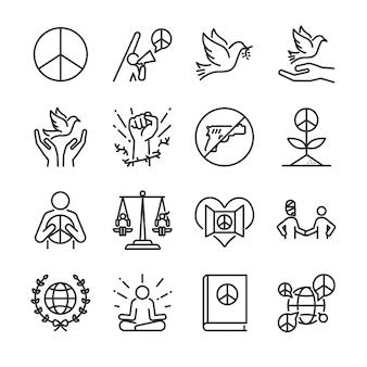 Conjunto de iconos de línea de derechos humanos.