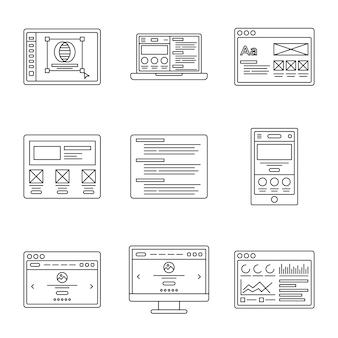 Conjunto de iconos de línea de desarrollo web y wireframes