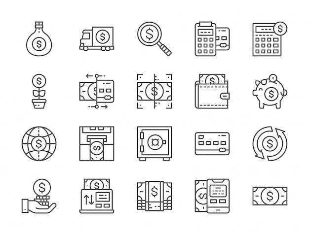 Conjunto de iconos de línea de dinero y banca. pagos en línea, terminal, cajero automático y más.