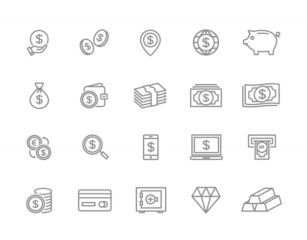 Conjunto de iconos de línea de dinero. moneda, efectivo, tarjeta, cajero automático y más.