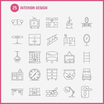 Conjunto de iconos de línea de diseño de interiores para infografías, kit ux / ui móvil