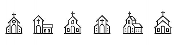 Conjunto de iconos de línea de edificio de la iglesia.
