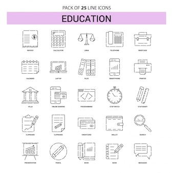 Conjunto de iconos de la línea de educación - 25 estilo de esquema discontinuo