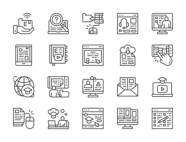 Conjunto de iconos de línea de educación en línea