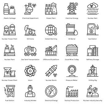Conjunto de iconos de línea de elementos nucleares