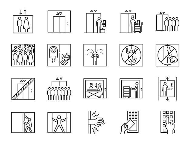 Conjunto de iconos de línea de elevación.