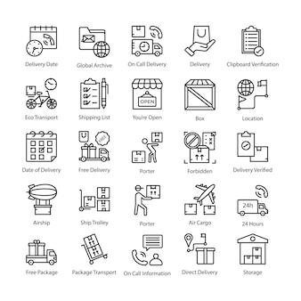 Conjunto de iconos de línea de entrega de logística