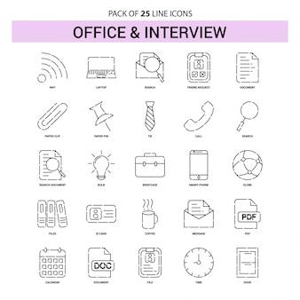 Conjunto de iconos de línea de entrevista y oficina - 25 estilo de esquema discontinuo