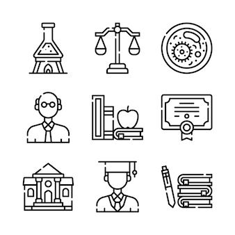 Conjunto de iconos de línea escuela y educación.