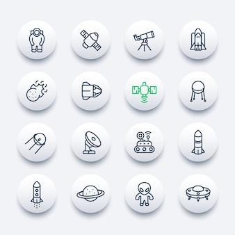Conjunto de iconos de línea espacial y astronomía