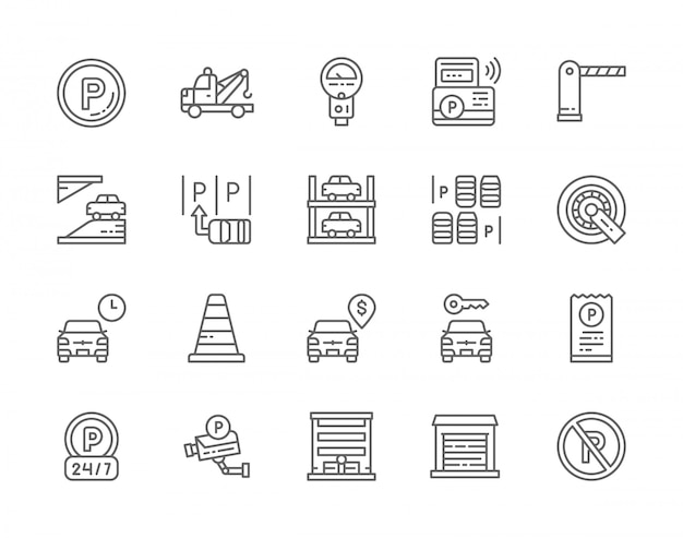 Conjunto de iconos de línea de estacionamiento de automóviles.