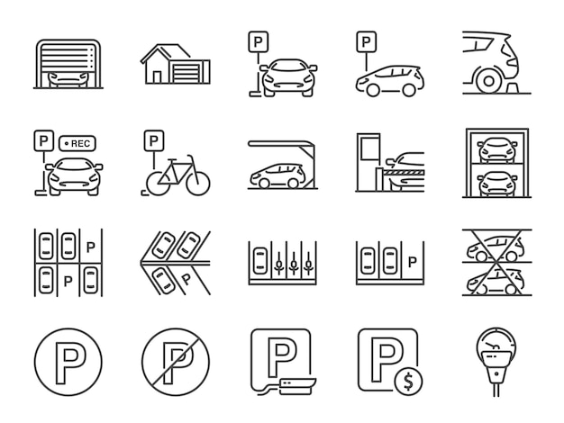 Conjunto de iconos de línea de estacionamiento.