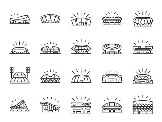 Conjunto de iconos de línea de estadio deportivo.